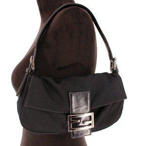 Fendi Satin Baguette Black Shoulder Bag + Dust Bag